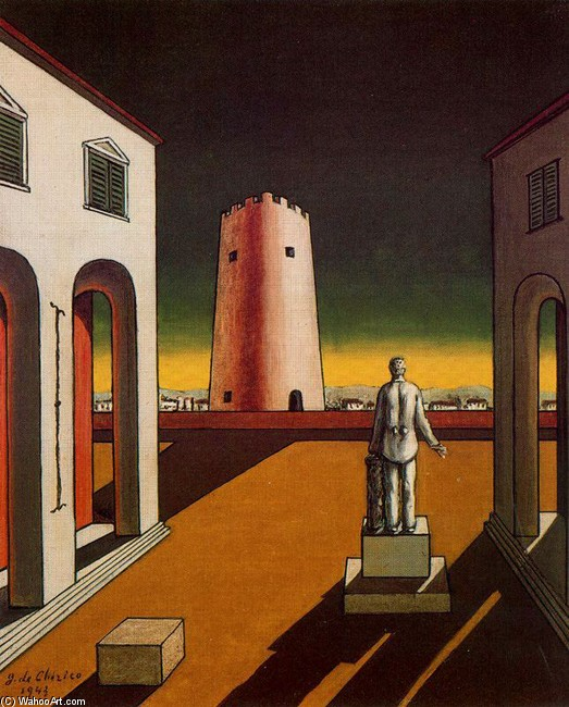 GIORGIO-DE-CHIRICO-PLAZA-DE-ITALIA-WITH-RED-TOWER