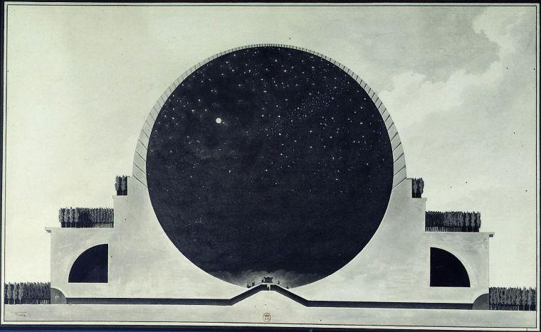 Étienne-Louis_Boullée,_Cénotaphe_de_Newton_-_04_-_Coupe,_représentation_de_jour_avec_effet_intérieur_de_nuit