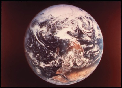 This image of the earth was captured by the astronauts aboard the Apollo 17 spacecraft in 1972.