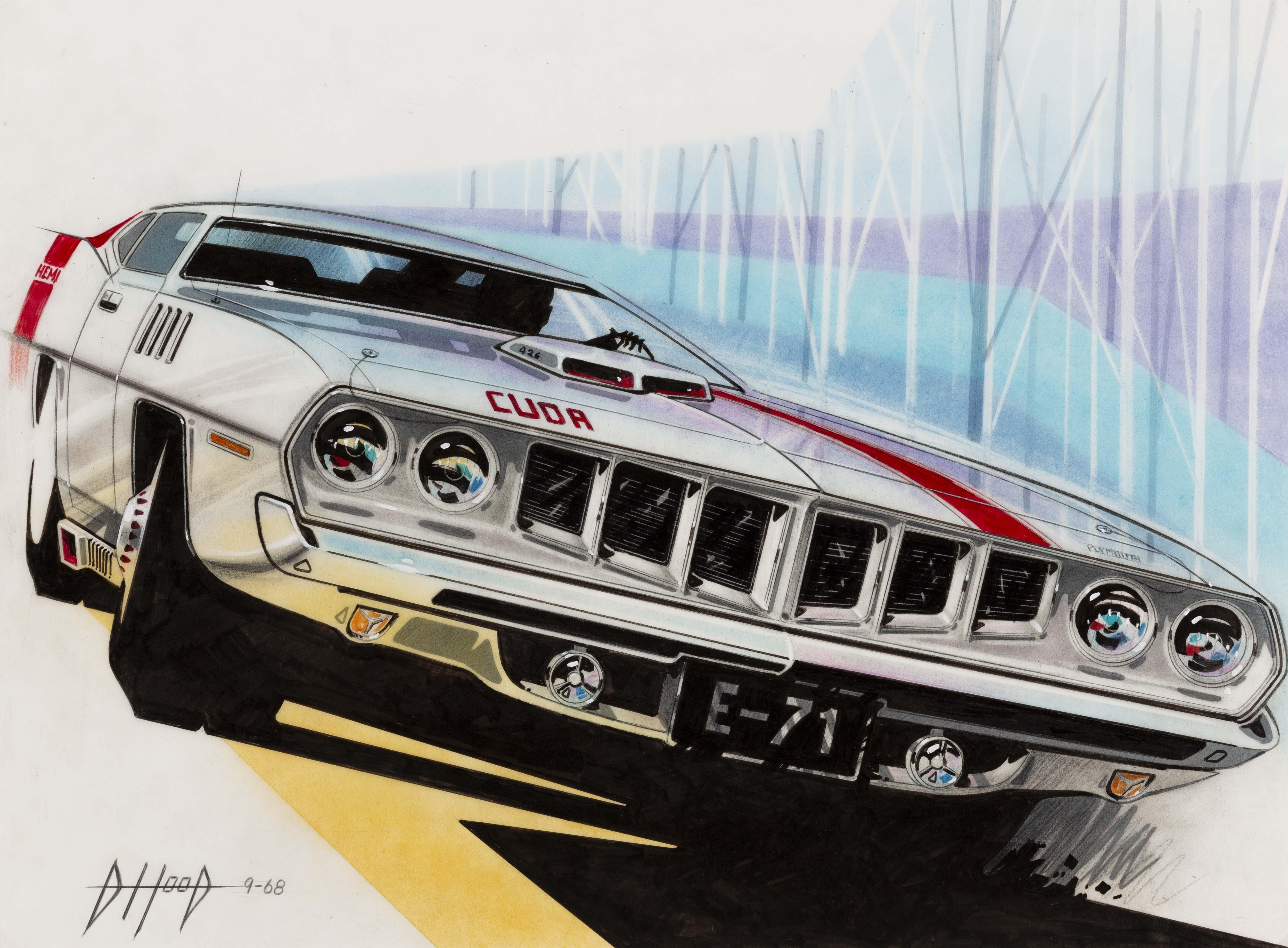"""Idea de alargamiento frontal frontal para """"Barracuda del 71"""", 1968, Donald Hood."""